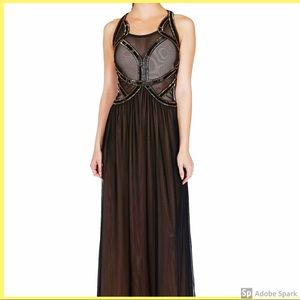 Beaded maxi dress with a beautiful meshed cut